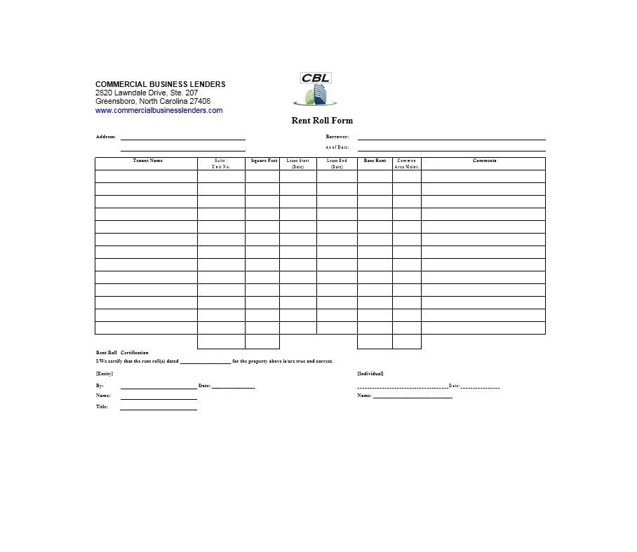 Superior Rent Roll Template 07