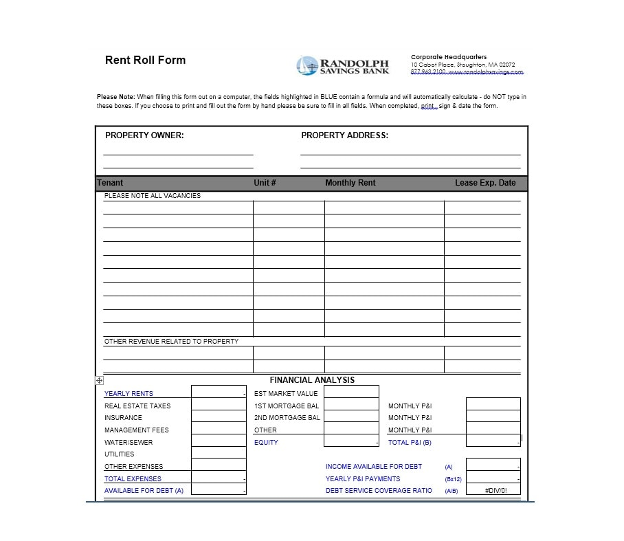 Rent Roll Templates Forms Template Archive - Property will template