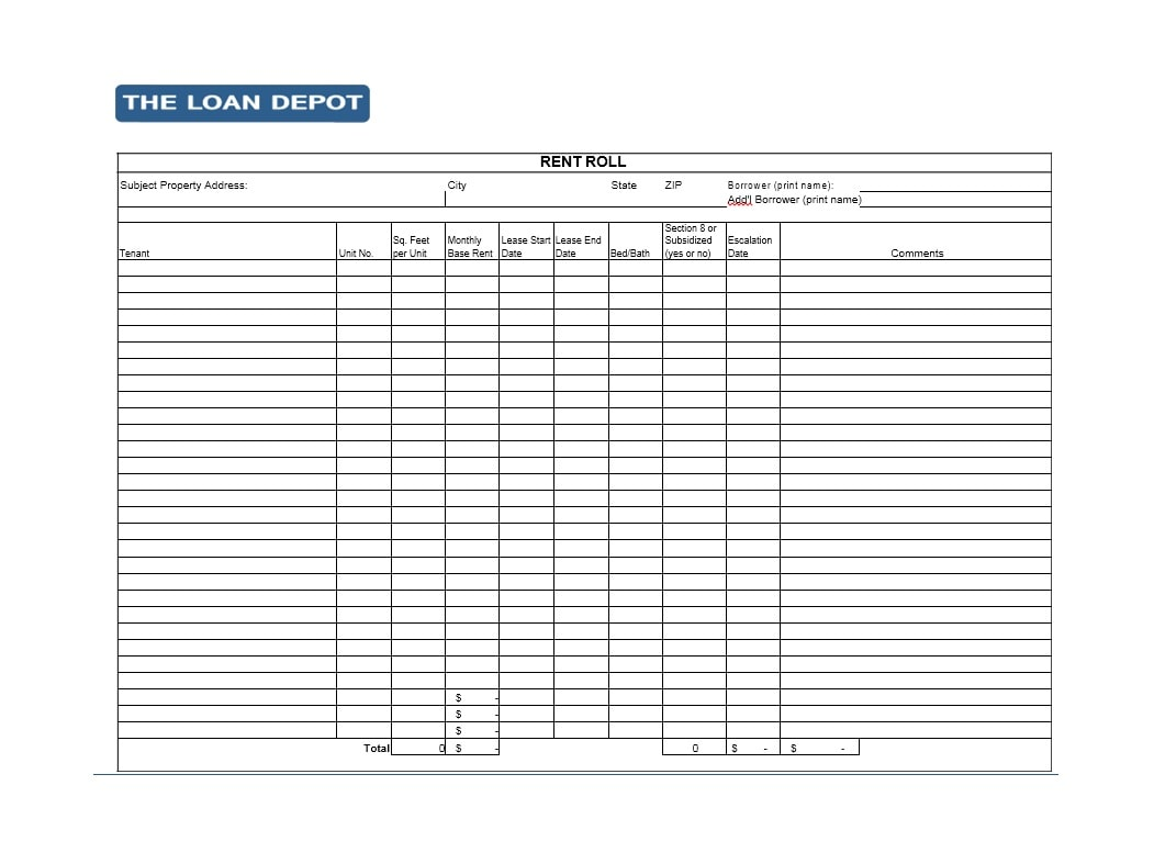 rent roll forms 47 Rent Roll Templates