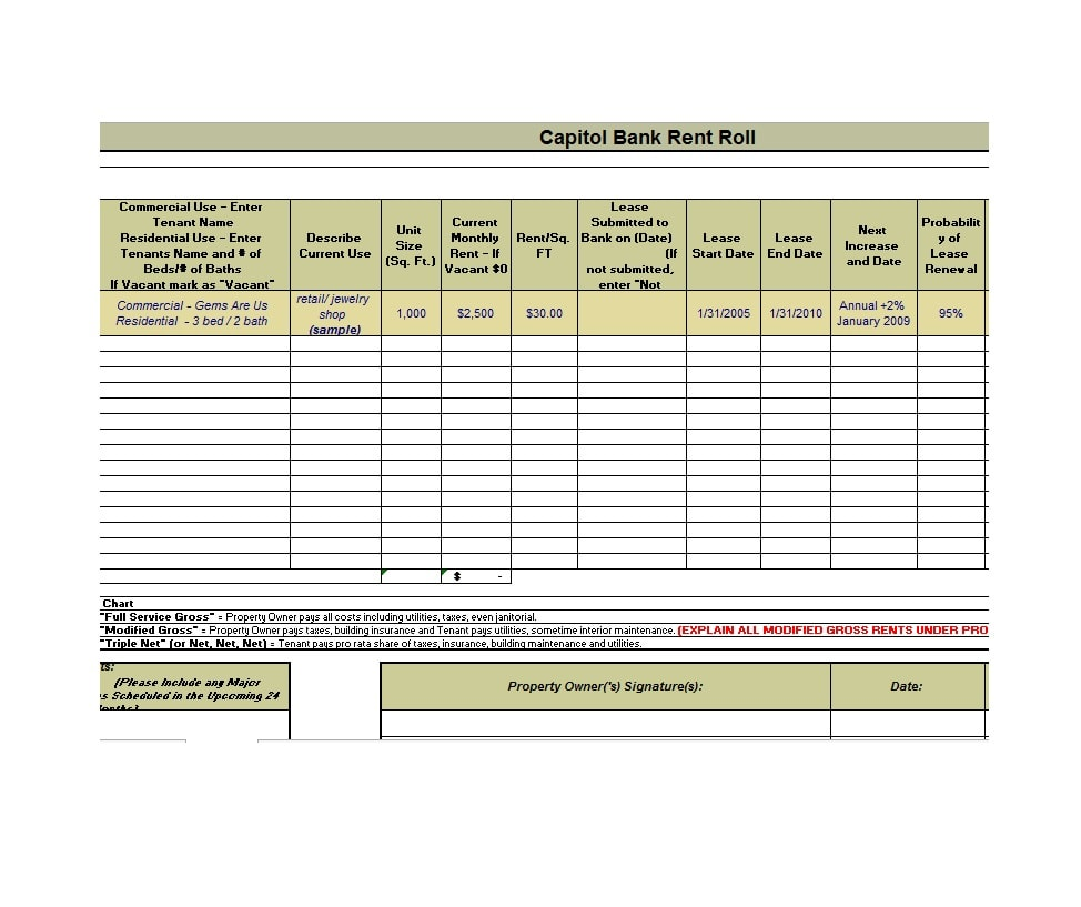 Rent Roll Template 25