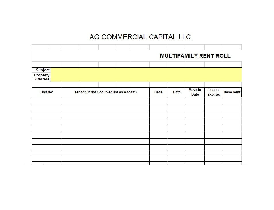 rent roll form template