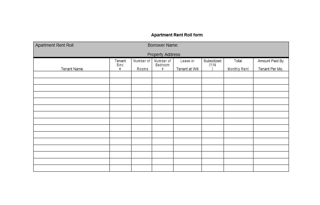 rent roll templates