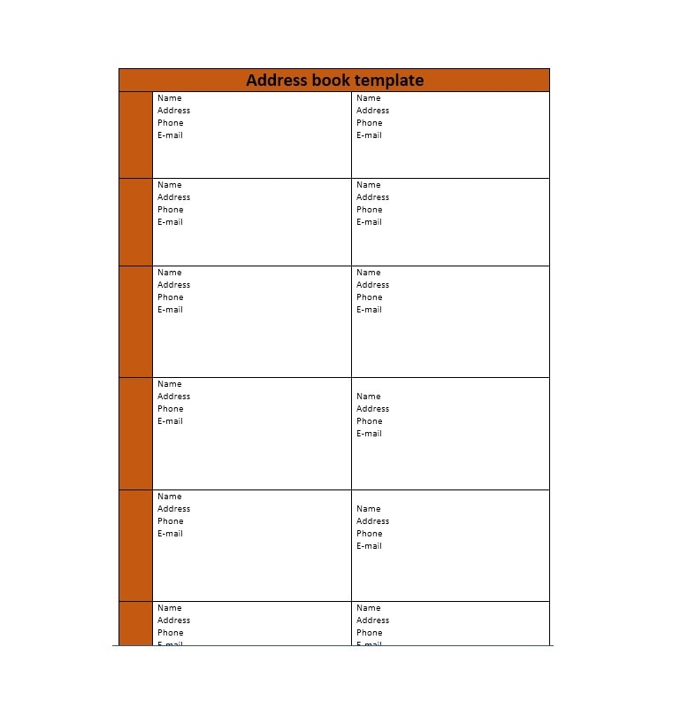 Old fashioned address book template component example for Electronic address book template