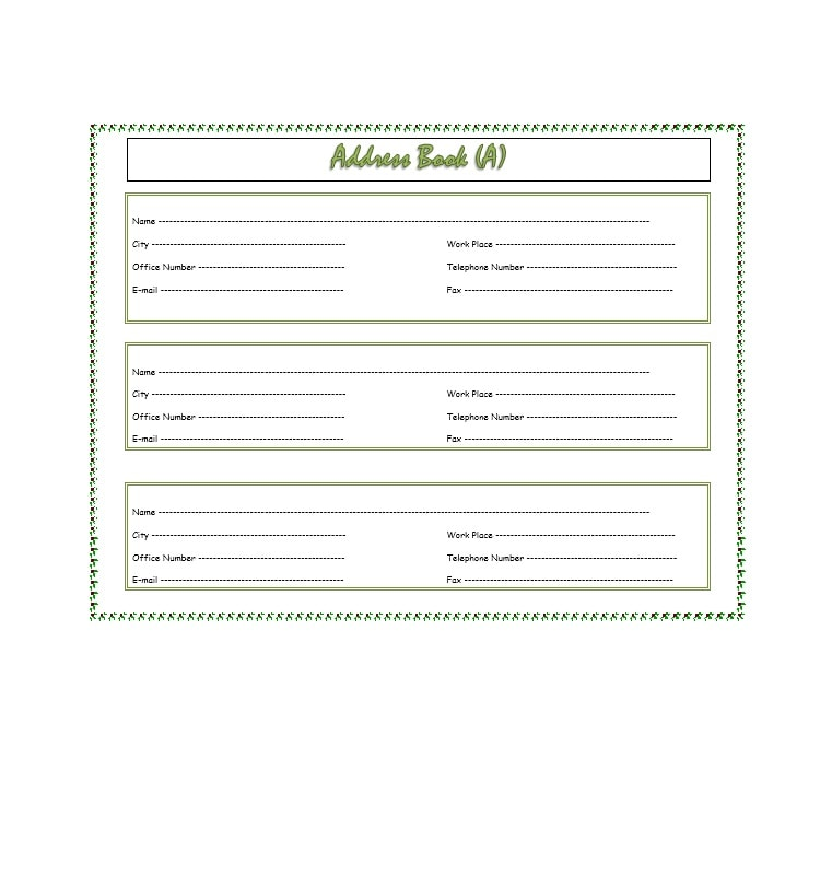 Address Book Template 10
