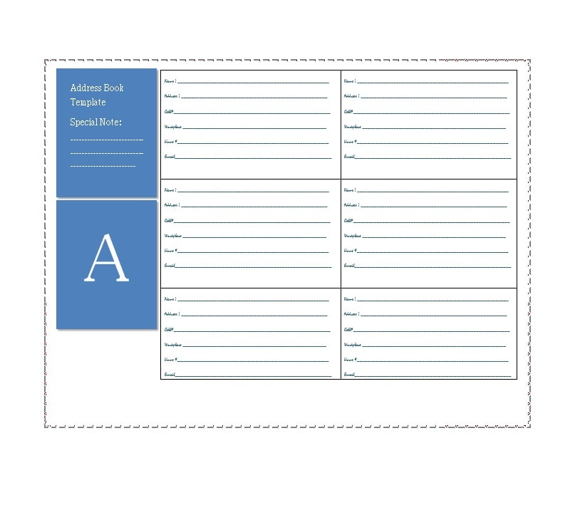 picture regarding Printable Address Book Template named 40 Printable Editable Include E-book Templates [101% No cost]
