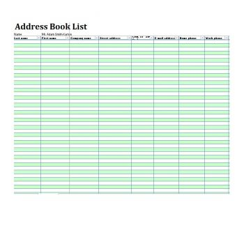 Address Book Template 23