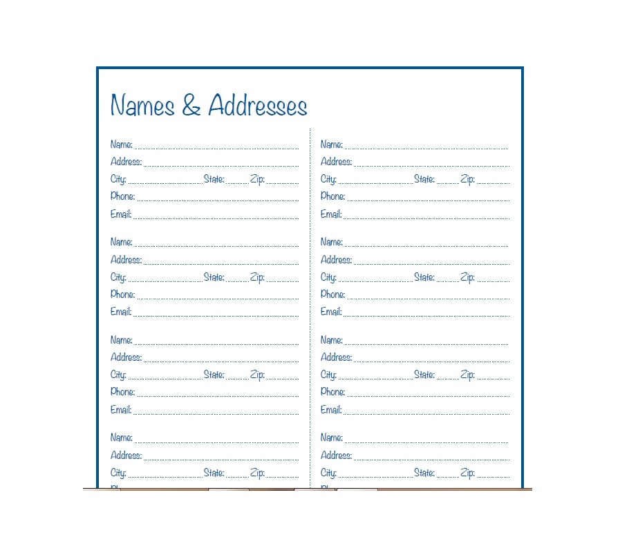 image about Printable Address Book Template named 40 Printable Editable Deal with Ebook Templates [101% Cost-free]