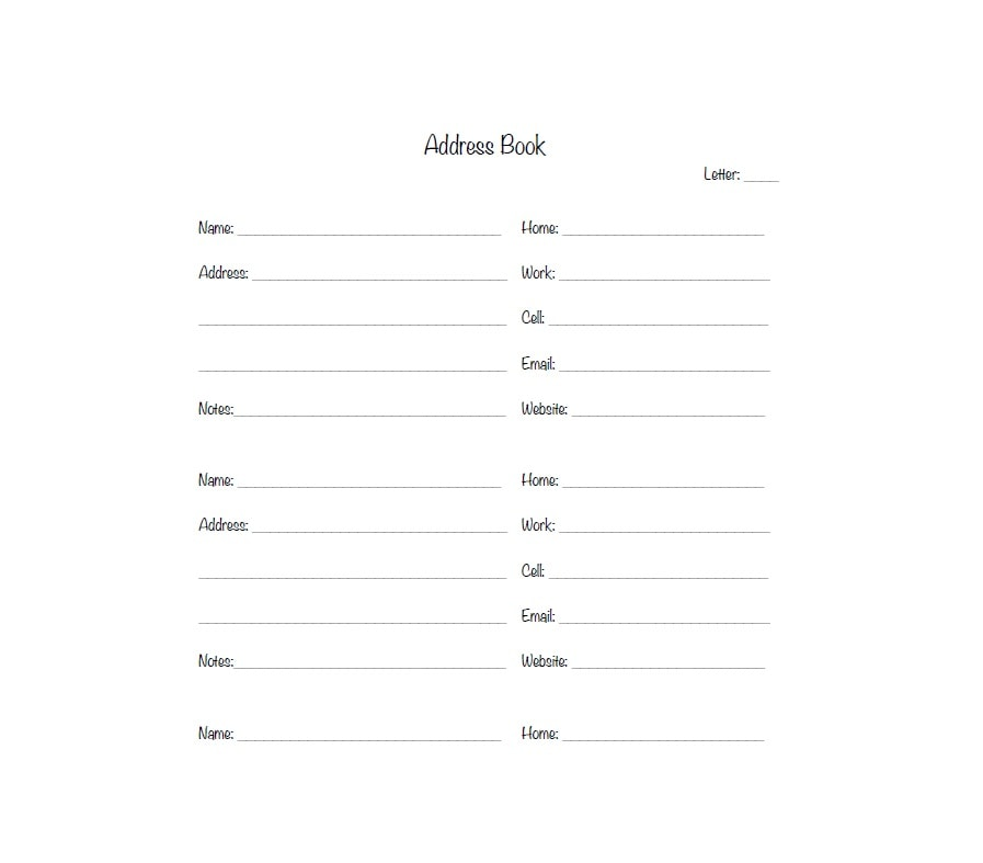 40 printable editable address book templates 101 free