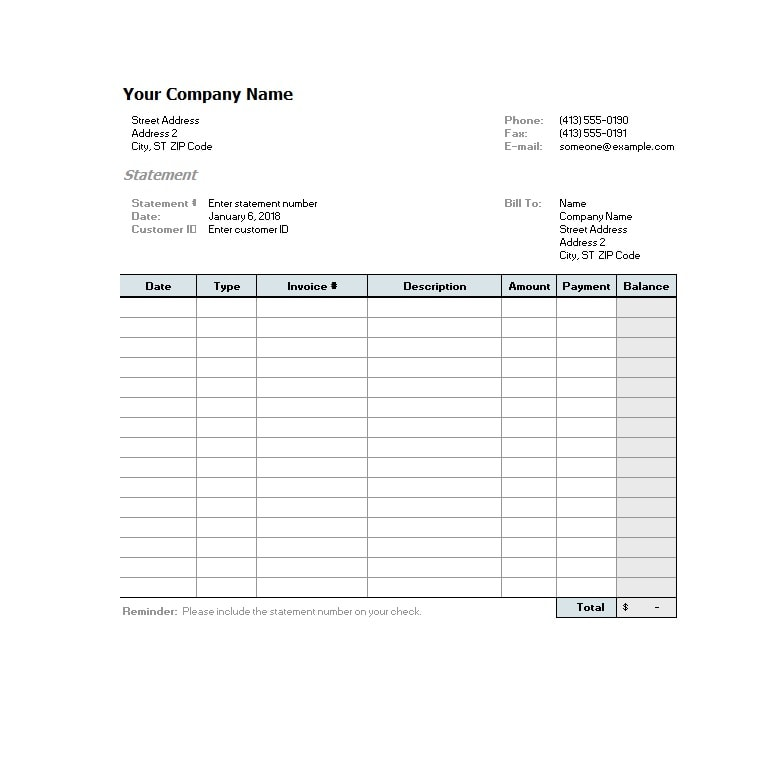 Billing Statement Template 02