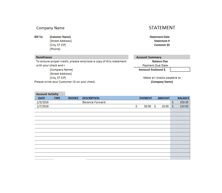 Billing Statement Template 09