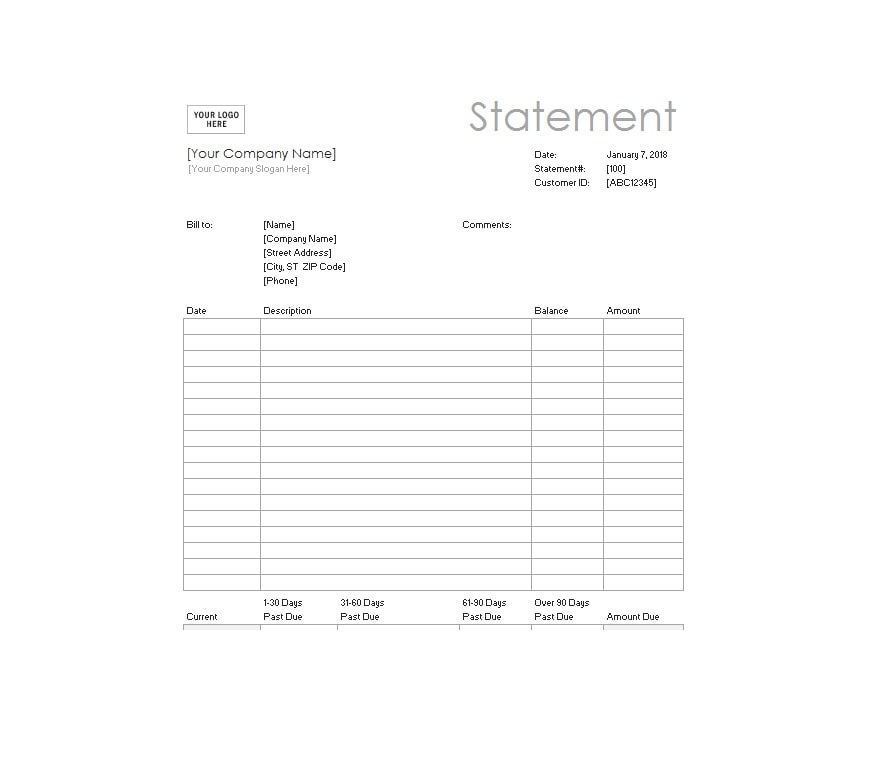 Billing Statement Template 10