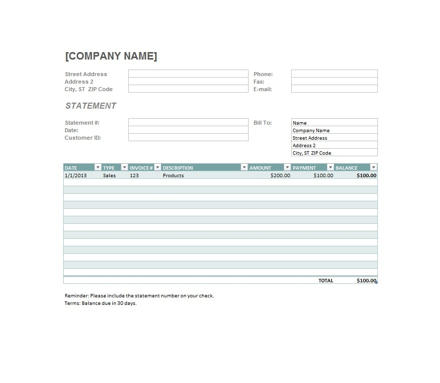 Billing Statement Template 11