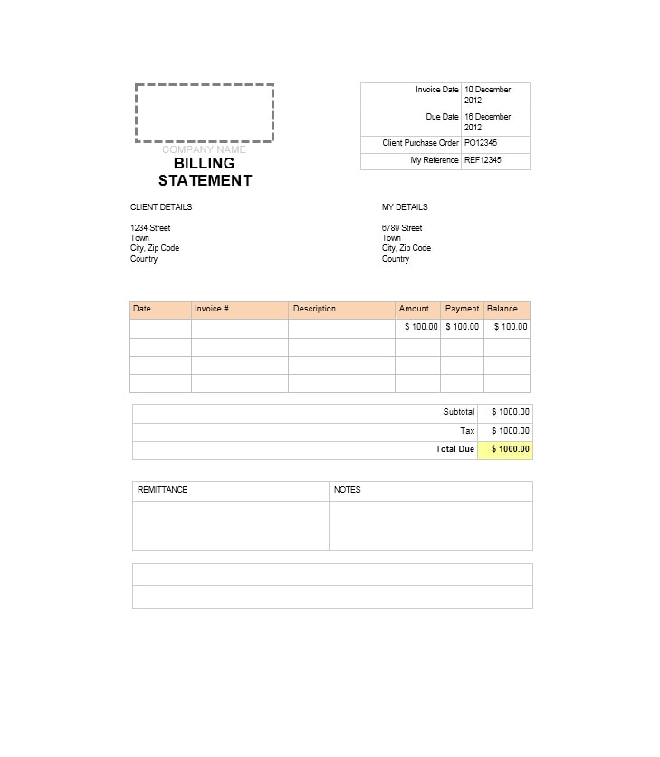 Billing Statement Template 18