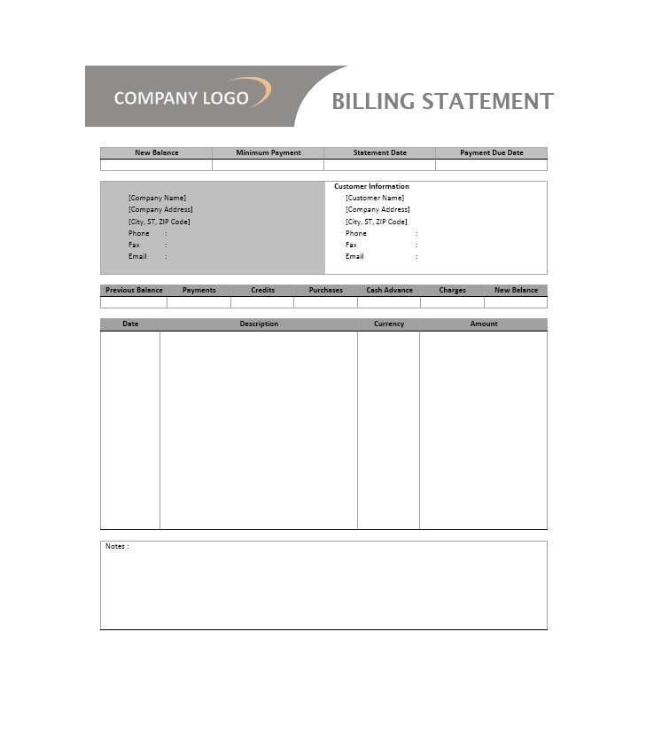 Billing Statement Template 19