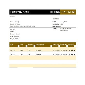 Billing Statement Template 30