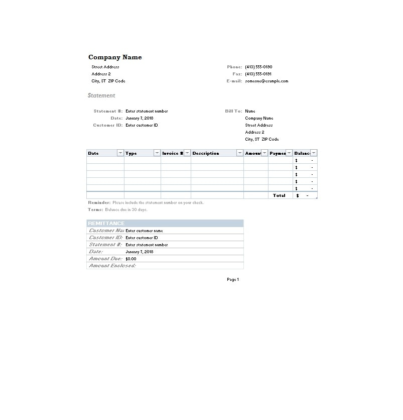 Billing Statement Template 33