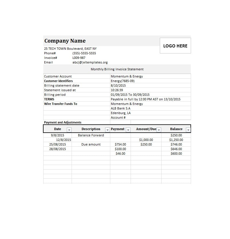 Billing Statement Template 34