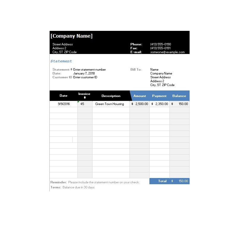 Billing Statement Template 35