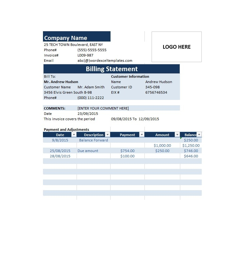 Billing Statement Template 36