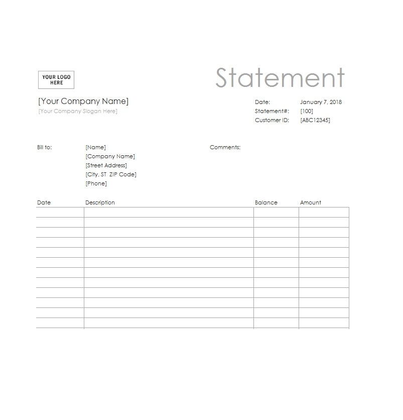 Billing Statement Template 37
