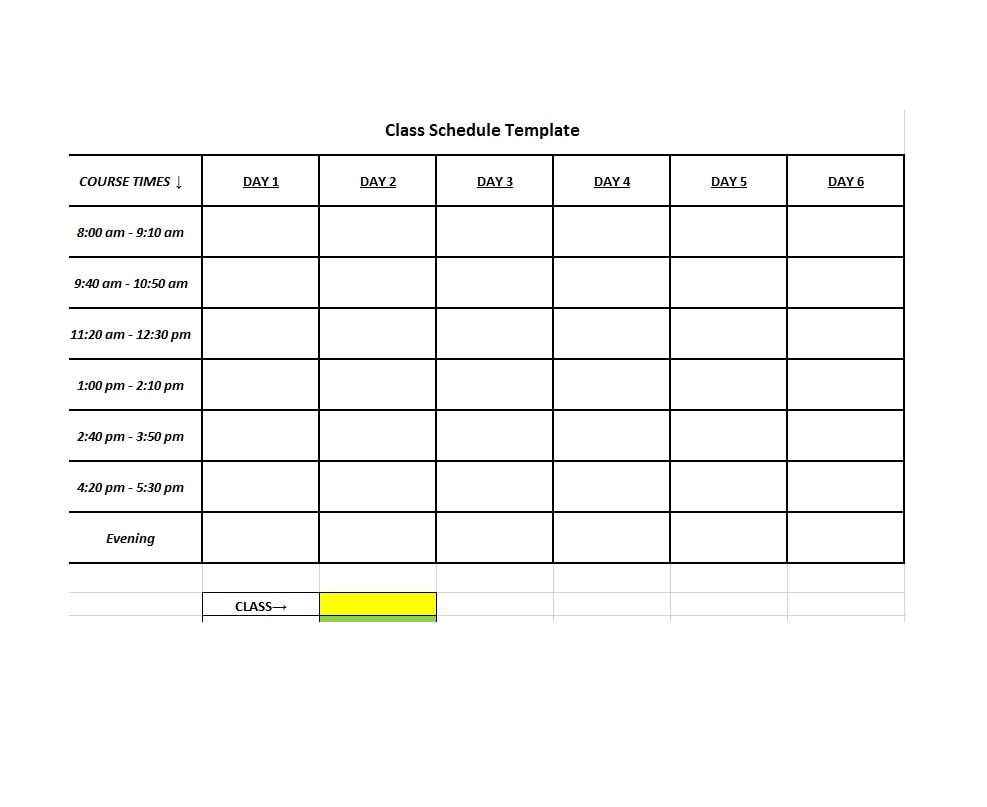 36 college class schedule templates  weekly  daily  monthly