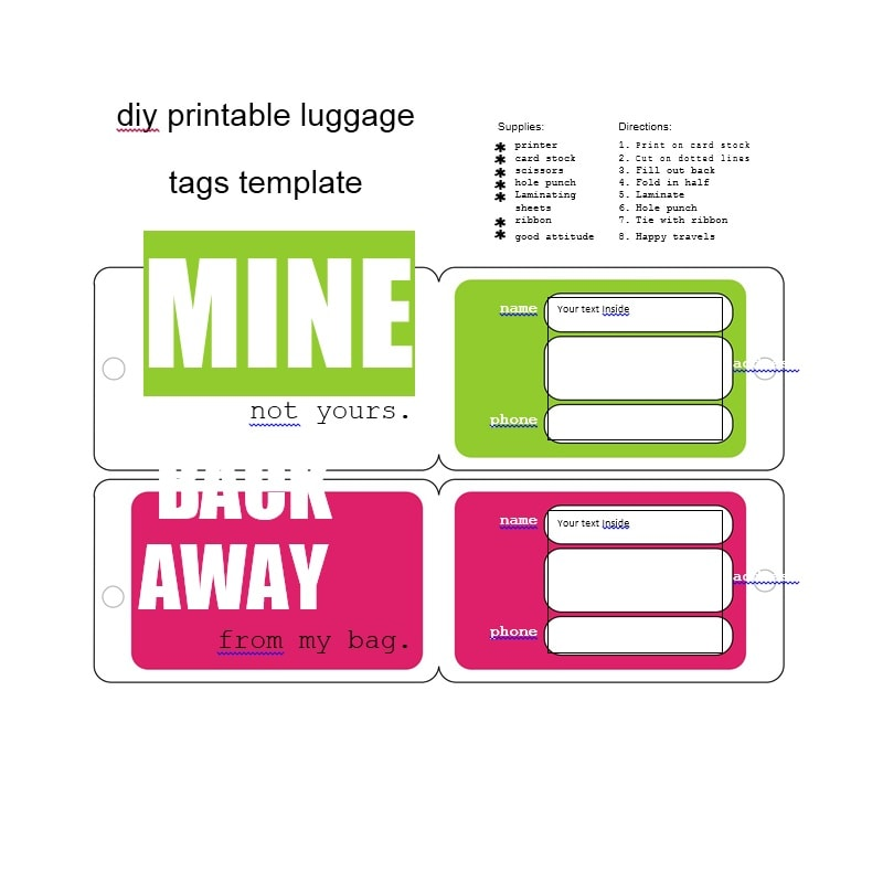 photo regarding Luggage Tags Printable identified as 50 Custom-made Bags Tag Templates - Template Archive