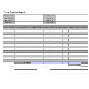 Travel Expense Report Template 01