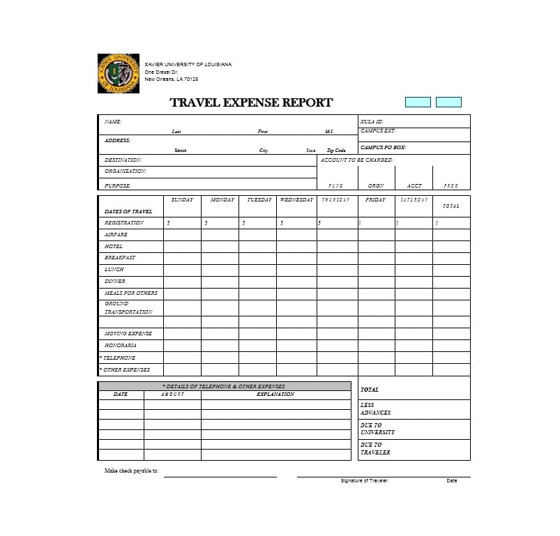 Travel Expense Report Template 02