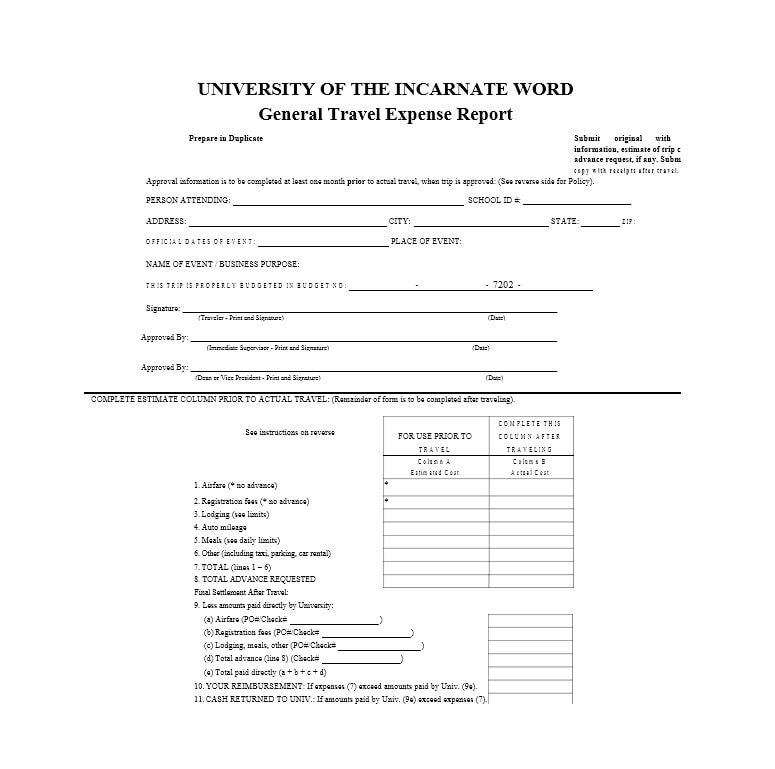 Travel Expense Report Template 05