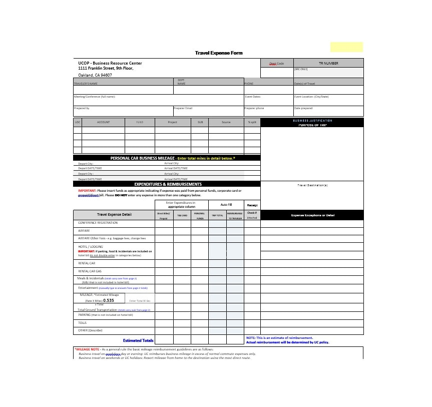 46 travel expense report forms templates template archive travel expense report template 12 accmission Choice Image