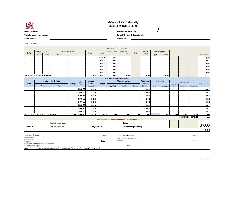 Travel Expense Report Template 20