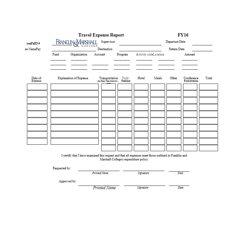 Travel Expense Report Template 25