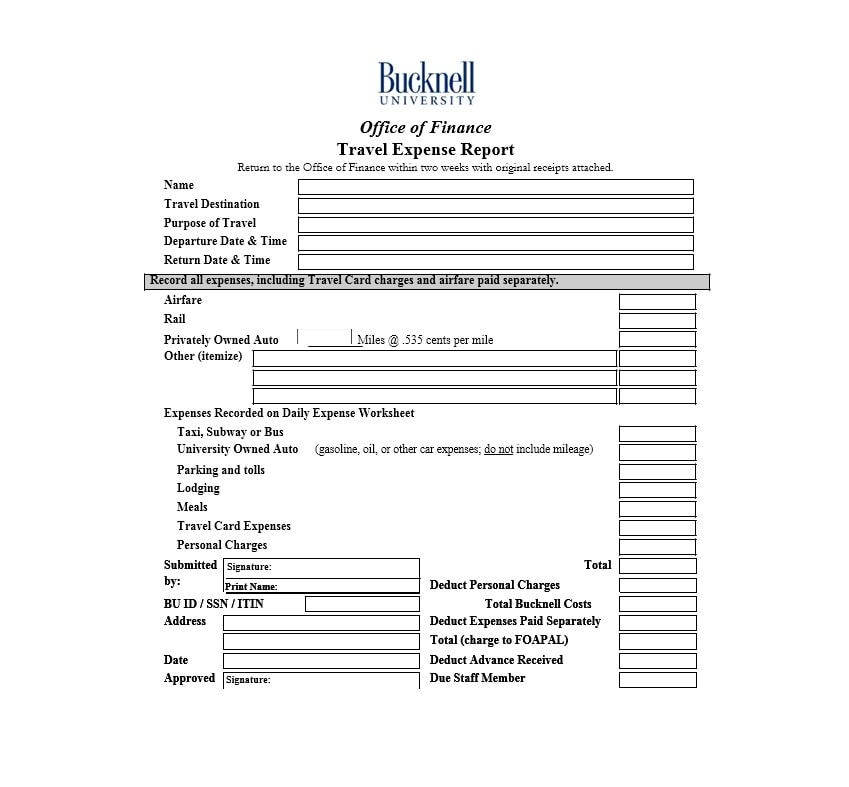 Travel Expense Report Template 42
