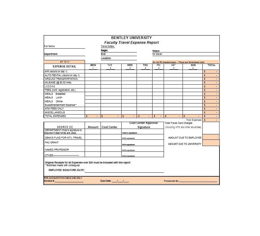 Travel Expense Report Template 44