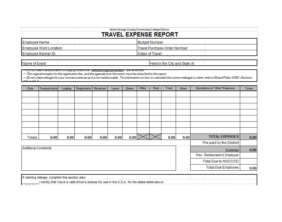 Travel Expense Report Template 45