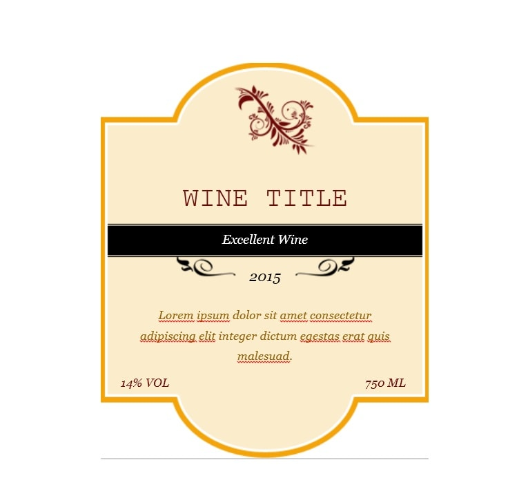 image regarding Free Printable Wine Labels With Photo called 40 Totally free Wine Label Templates (Editable) - Template Archive