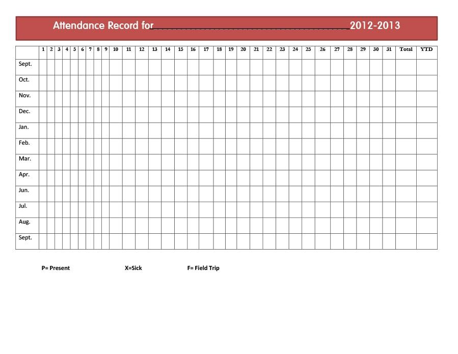 40  free attendance tracker templates  employee  student  meeting