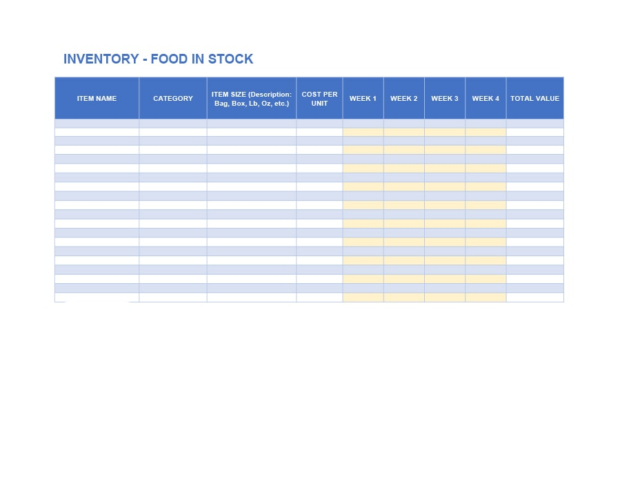 restaurant inventory list template