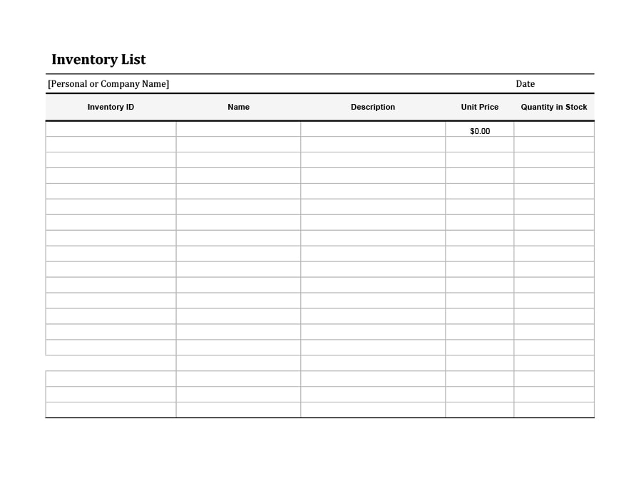 Gratifying image with regard to printable inventory list template