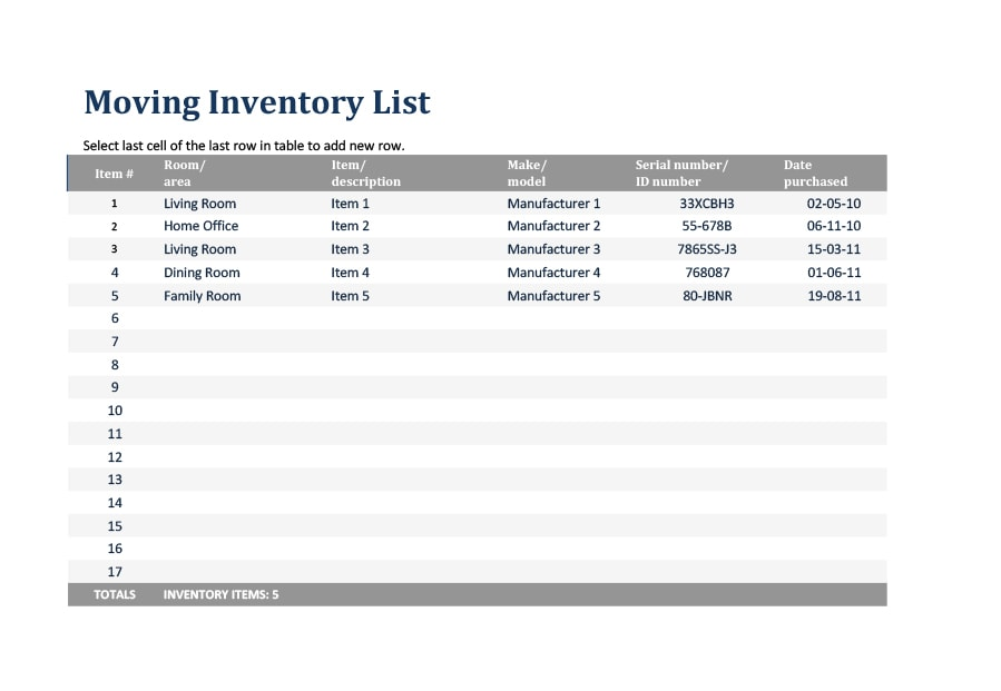 Inventory List Template 37