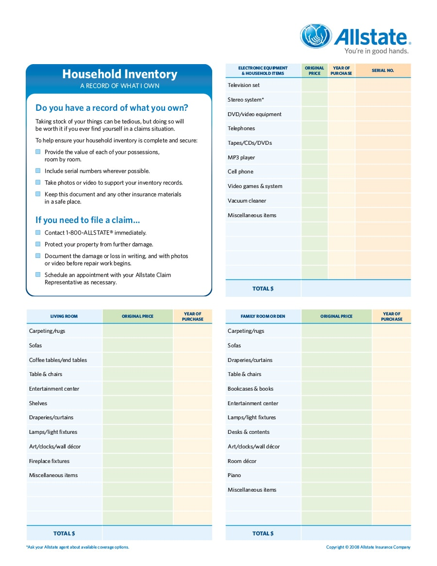 inventory list template 45