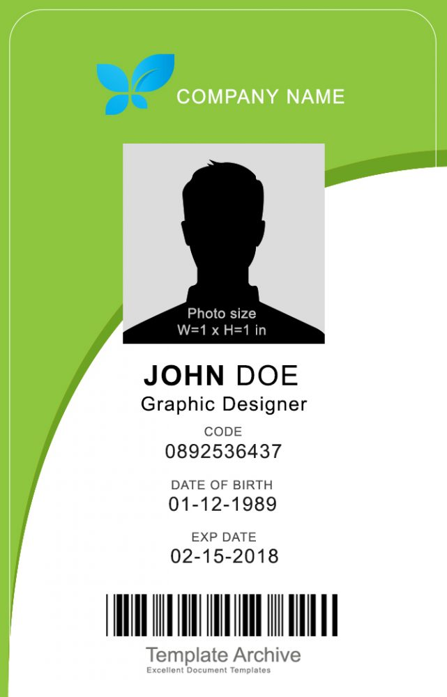 16 ID Badge & ID Card Templates {FREE} - TemplateArchive