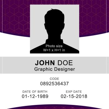 Vertical ID Badge 1 - (Word + PSD)
