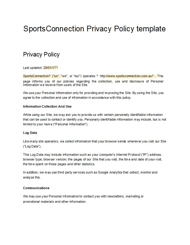 privacy policy template 41