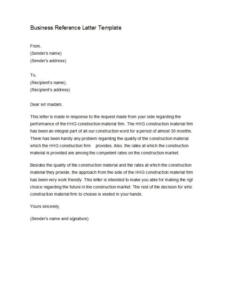 Company Recommendation Letter Sample.45 Awesome Business Reference Letters Template Archive