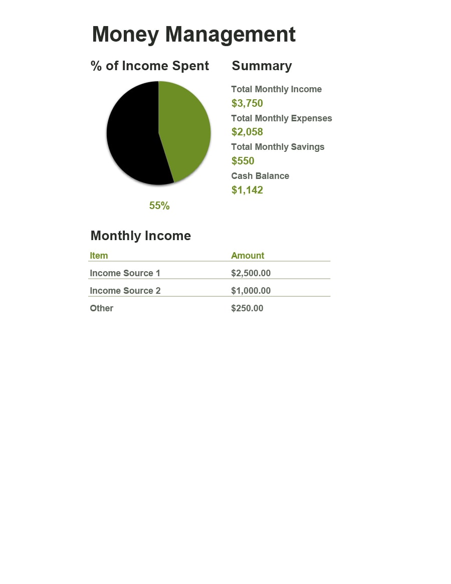money management worksheet 01