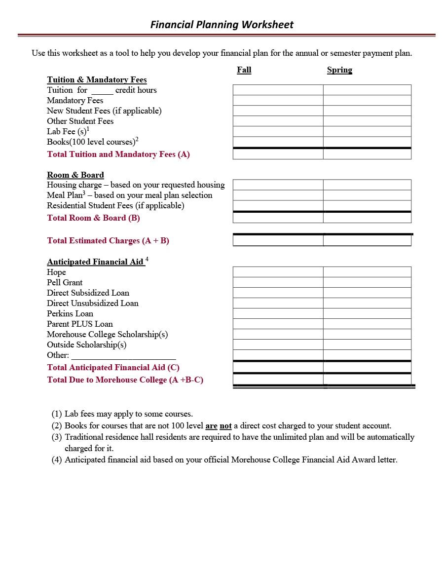 money management worksheet 26
