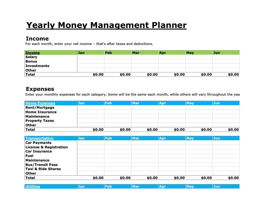 money management worksheet 37