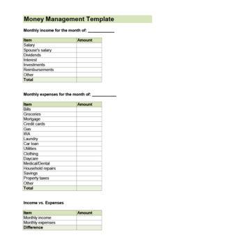 money management worksheet 48