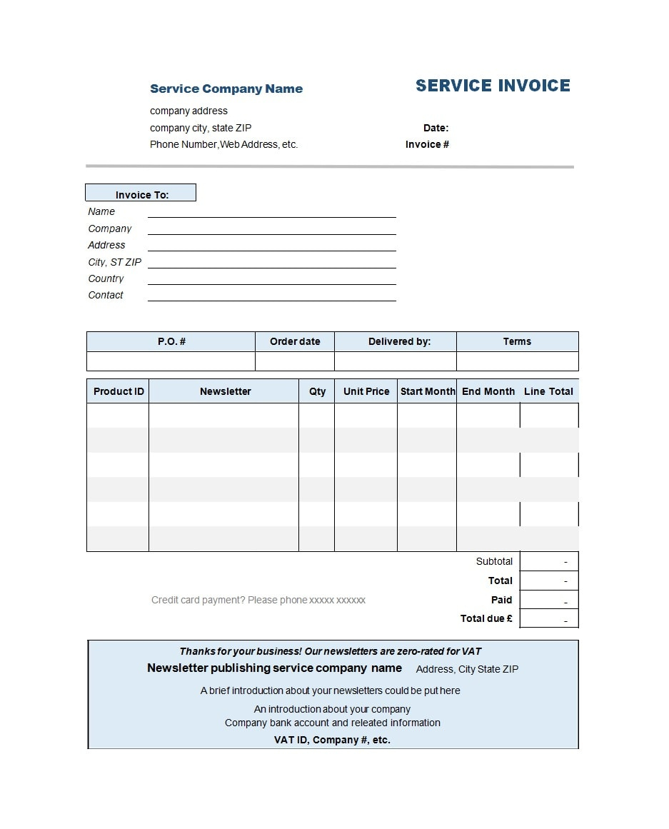 50 Simple Service Invoice Templates Ms Word Templatearchive